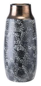 Stoneware Metal Vase Md Metal & Blk Ash