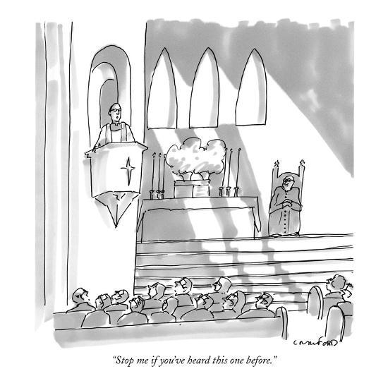 """Stop me if you've heard this one before."" - New Yorker Cartoon-Michael Crawford-Premium Giclee Print"