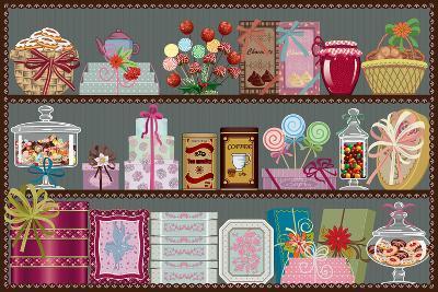 Store of Sweets and Chocolate-Milovelen-Art Print