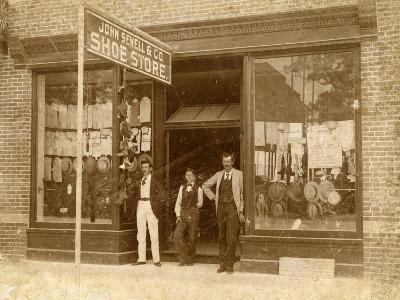 Store Personnel in Front of John Sewell and Co. Shoe Store, C.1910--Photographic Print