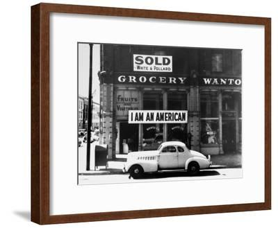 """Store Sign Reads, """"I am an American,"""" After Pearl Harbor Attack, and """"Sold"""", Following Evacuation-Dorothea Lange-Framed Premium Photographic Print"""