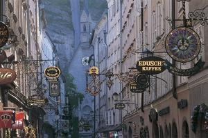 Store Signs in a City, Getreidegasse, Salzburg, Austria