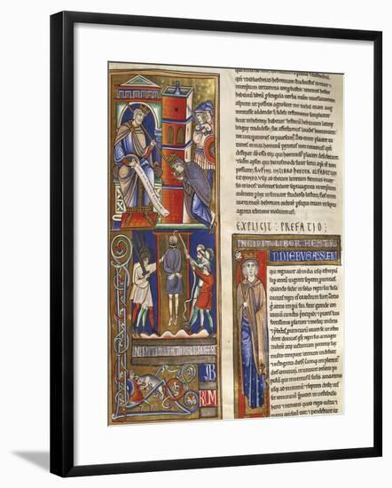Stories of Esther, Miniature from the Bible of Souvigny, Latin Manuscript 1 Folio 284 Recto--Framed Giclee Print