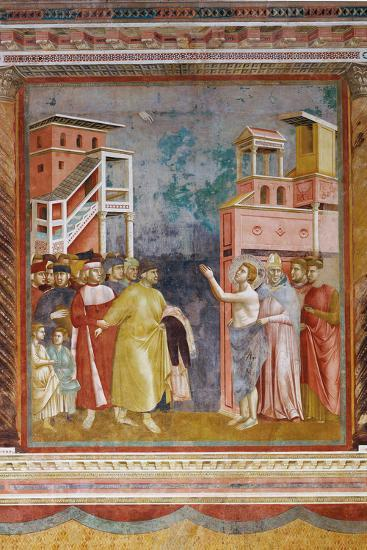 Stories of St Francis St. Francis Renounces His Fathers Goods and Earthly Wealth-Giotto di Bondone-Giclee Print