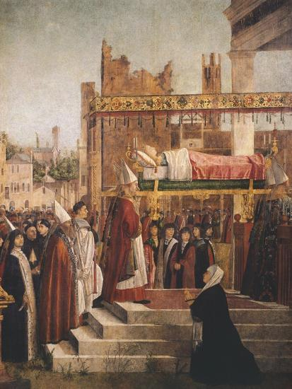 Stories of St. Ursula, Martyrdom of Pilgrims and Funeral of St. Ursula, 1493-Vittore Carpaccio-Giclee Print