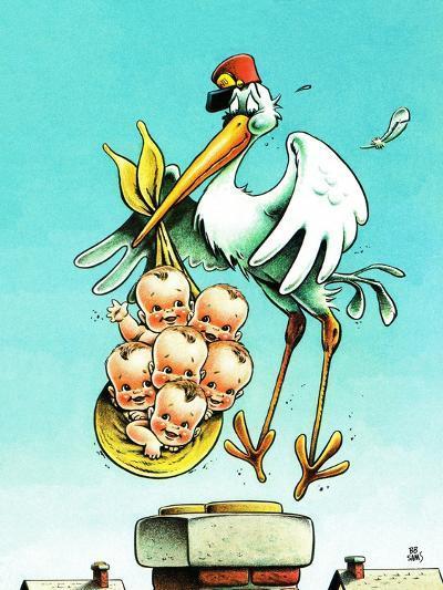 """Stork and Quints,"" April 1, 1984-BB Sams-Giclee Print"