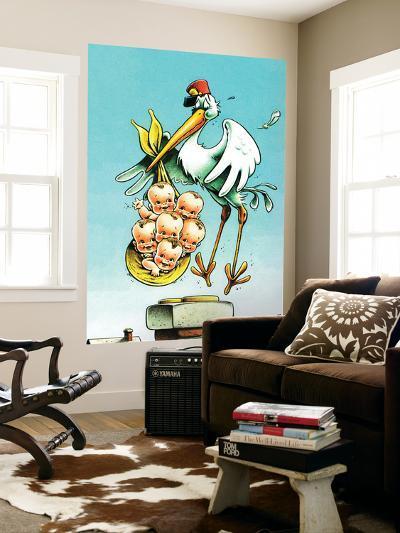 """Stork and Quints,"" April 1, 1984-BB Sams-Wall Mural"
