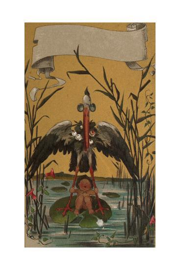 Stork with Baby on Lily Pad--Art Print