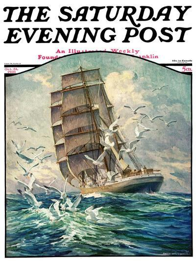 """""""Storm at Sea,"""" Saturday Evening Post Cover, October 31, 1931-Anton Otto Fischer-Giclee Print"""