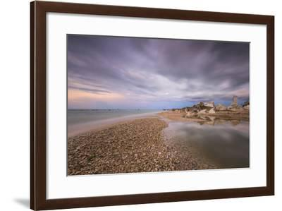 Storm clouds are reflected in the clear water at sunset, Porto Recanati, Conero Riviera, Italy-Roberto Moiola-Framed Photographic Print