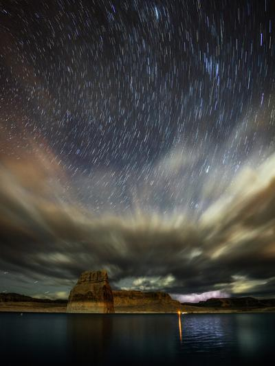 Storm Clouds, Lightning, and Star Trails over Lake Powell, a Reservoir on the Colorado River-Babak Tafreshi-Photographic Print
