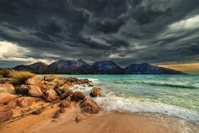 Storm Clouds over Mountains and Beach-Steve Daggar Photography-Photographic Print