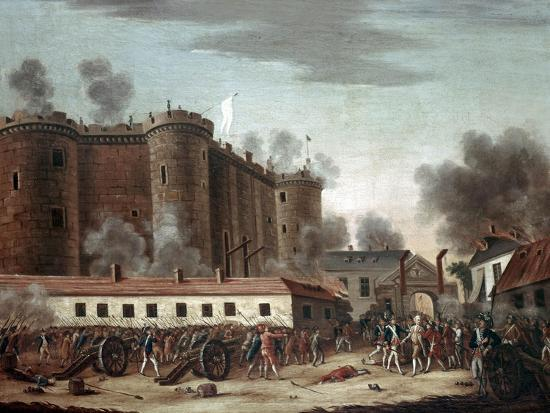 Storming of the Bastille, 14th July 1789-French School-Giclee Print