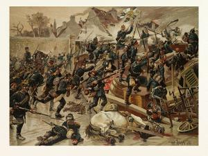 Storming of the Great Barricade at the Entrance of Le Bourget by the 3rd Garde-Grenadier Regiment Q