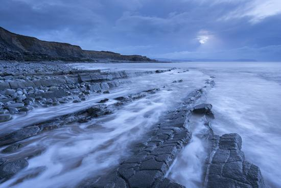 Stormy Evening at Kilve Beach on the Somerset Coast, Somerset, England. Winter (January)-Adam Burton-Photographic Print