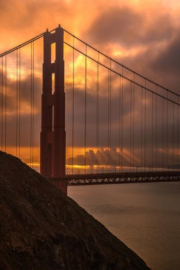 Stormy Morning Sunrise at Golden Gate Bridge--Photographic Print