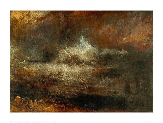 Stormy Sea with Blazing Wreck-J^ M^ W^ Turner-Giclee Print