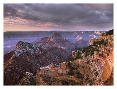 Stormy skies over Vishnu Temple, Grand Canyon National Park, Arizona-Tim Fitzharris-Art Print