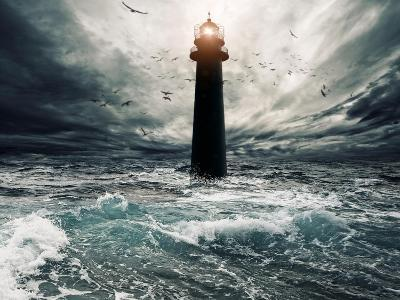Stormy Sky Over Flooded Lighthouse-NejroN Photo-Art Print