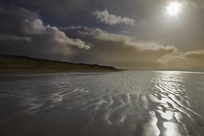 Stormy Sunlight on the Beach at Berrow, Near Burnham-On-Sea, Somerset, Great Britain-Nigel Hicks-Photographic Print