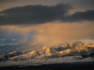 Stormy Sunset on Bridger Mountains Above Bozeman and Gallatin Valley-Gordon Wiltsie-Photographic Print