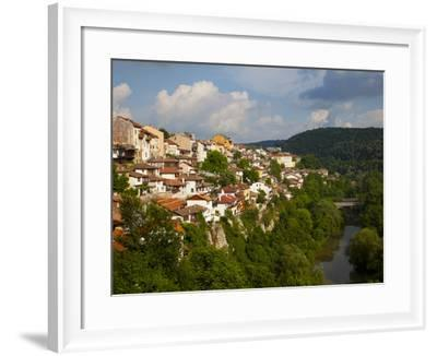 Stormy Weather at Dusk over Hillside Houses Above the Yantra River, Veliko Tarnovo, Bulgaria, Europ-Dallas & John Heaton-Framed Photographic Print