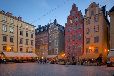 Stortorget Square Cafes at Dusk, Gamla Stan, Stockholm, Sweden, Scandinavia, Europe-Frank Fell-Photographic Print