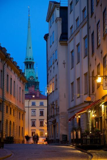 Stortorget Square Cafes at Dusk, Gamla Stan, Stockholm, Sweden, Scandinavia, Europe-Frank Fell-Photographic Print