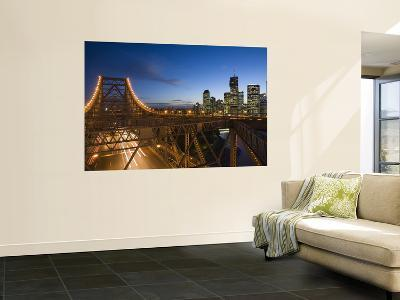 Story Bridge and Riverside Business District in Brisbane at Dusk-Andrew Watson-Wall Mural