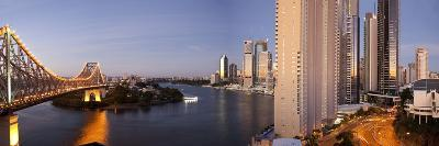 Story Bridge, Kangaroo Point, Brisbane River and City Centre at Dawn, Brisbane, Queensland, Austral-Nick Servian-Photographic Print