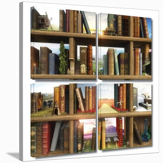 Story World 4 piece gallery-wrapped canvas-Cynthia Decker-Gallery Wrapped Canvas Set