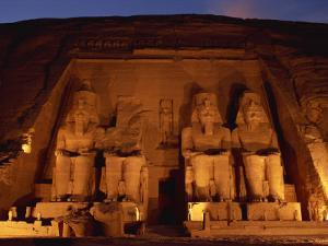 Colossi of Ramses II, Floodlit, Great Temple of Ramses II, Abu Simbel, Egypt by Strachan James