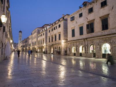 Stradun Street, Tower of the Church of St. Saviour, Dubrovnik Old Town, Dalmatia, Croatia-Martin Child-Photographic Print