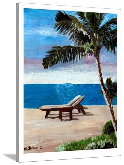 Strand Chairs On Caribbean Beach Or-M Bleichner-Stretched Canvas Print