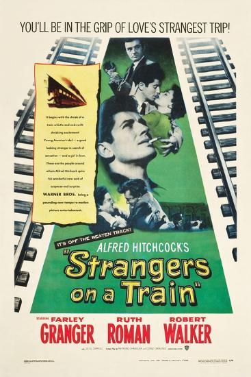 STRANGERS ON A TRAIN, Farley Granger, Robert Walker, Ruth Roman, 1951--Art Print