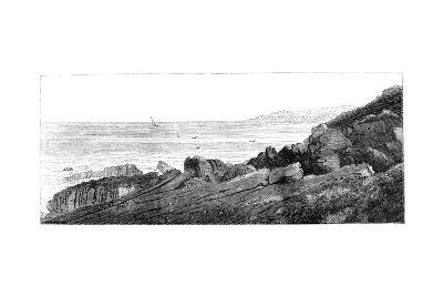 Strata of Red Sandstone, Slightly Inclined, Siccar Point, Berwickshire 1852-Charles Lyell-Giclee Print