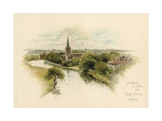 Stratford-Upon-Avon and Holy Trinity Church--Giclee Print
