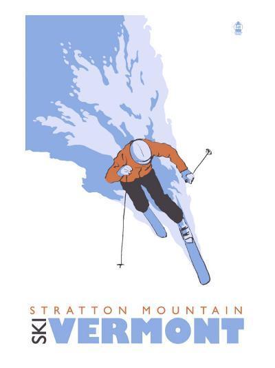Stratton Mountain, Vermont, Stylized Skier-Lantern Press-Art Print