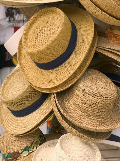 Straw Hats at Port Lucaya Marketplace, Grand Bahama Island, Caribbean-Walter Bibikow-Photographic Print