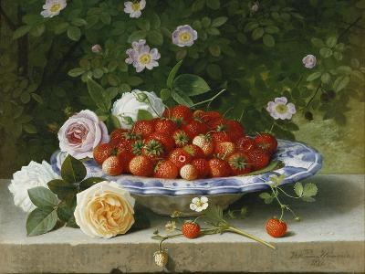 Strawberries in a Blue and White Buckelteller with Roses and Sweet Briar on a Ledge-William		 Hammer-Premium Giclee Print