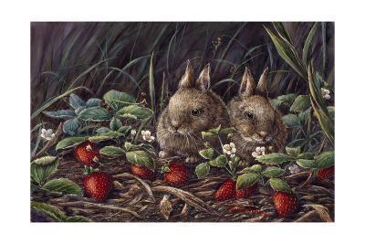 Strawberry Bunnies-Wanda Mumm-Giclee Print