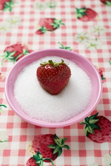 Strawberry in a Small Dish of Sugar-Foodcollection-Photographic Print