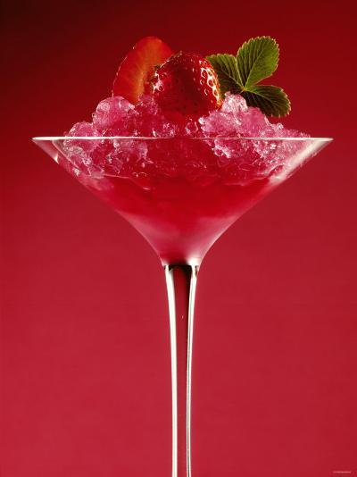 Strawberry Sorbet in a Stem Glass-Bodo A^ Schieren-Photographic Print
