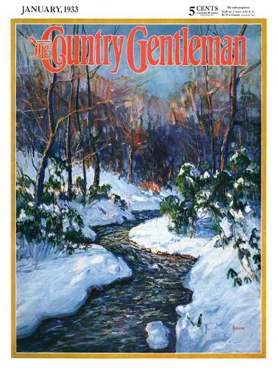 """""""Stream in Snowy Woods,"""" Country Gentleman Cover, January 1, 1933-Walter Baum-Giclee Print"""