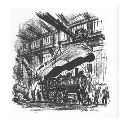 Streamlined hood is being put on an old steam engine. - New Yorker Cartoon-Alan Dunn-Premium Giclee Print
