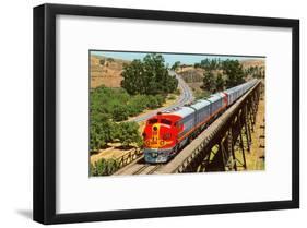 Streamlined Train on Trestle-null-Framed Art Print