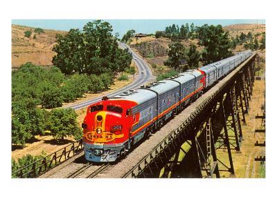 Streamlined Train on Trestle--Art Print