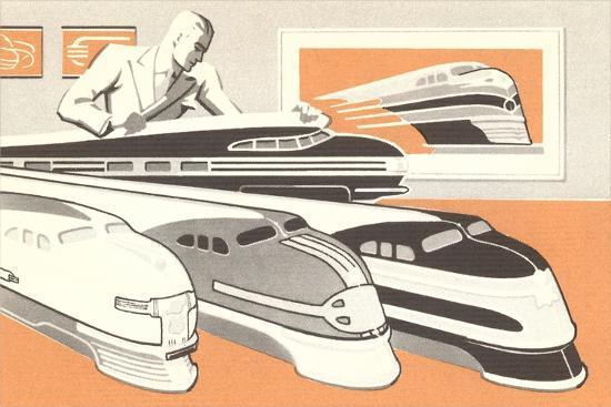 Streamlined Trains--Art Print