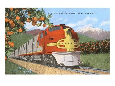 Streamlining through California, Oranges--Art Print
