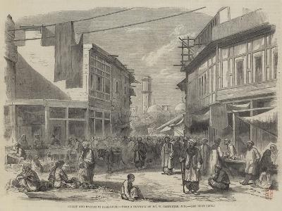 Street and Bazaar in Peshawur-William Carpenter-Giclee Print